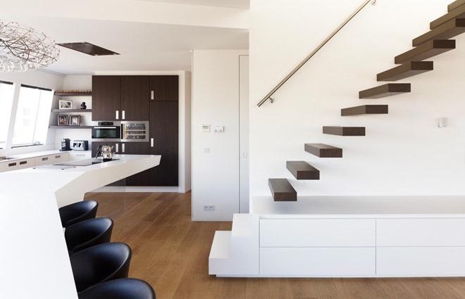 Design penthouse inrichting in antwerpen elft interieur - Opening tussen keuken en eetkamer ...