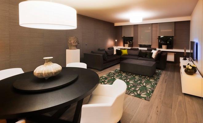 stijlvol appartement met open keuken en moderne woonkamer, Deco ideeën