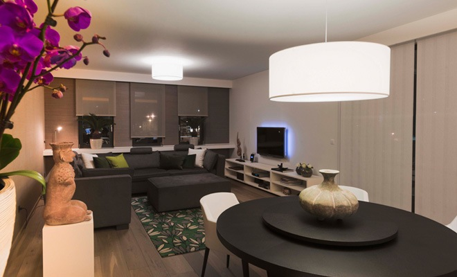 Stijlvol appartement met open keuken en moderne woonkamer - Decoratie woonkamer met open keuken ...